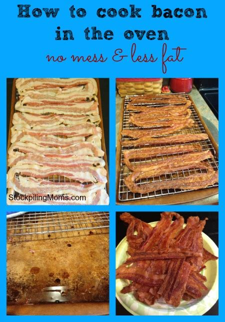 how to cook bacon in the oven with no mess and less fat