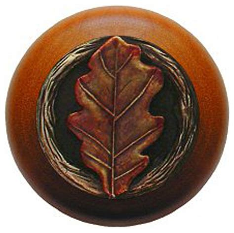oak leaf cherry wood knob hand tinted brass rustic