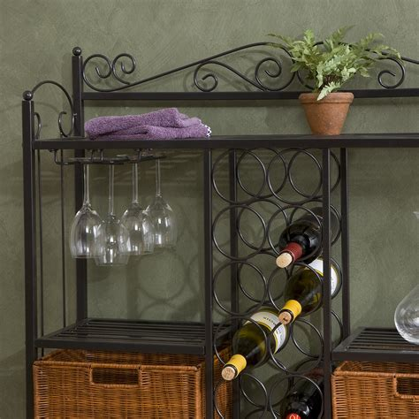 Bakers Rack With Wine Storage by View Larger