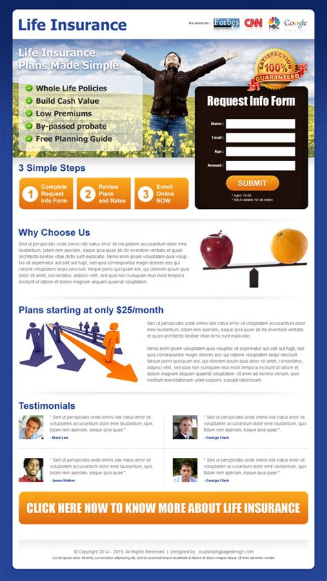 Best Insurance Landing Page Design Templates 2015 Landing Page Design Lead Capture Template