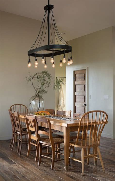 Country Dining Room Lighting This Country Rustic Look The Light Fixture Plank Floors Table Even The Classic Wooden