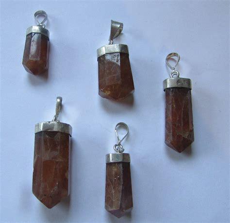 sterling silver pendant hessonite garnet hedv