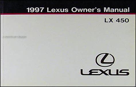 manual repair autos 1997 lexus lx on board diagnostic system 1997 lexus lx 450 owners manual original