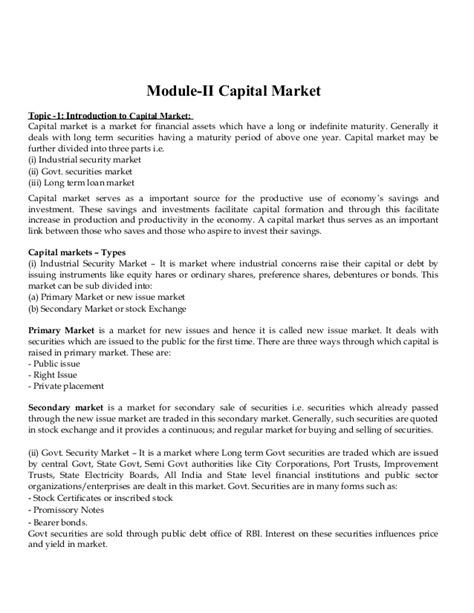 Capital Market Notes For Mba by Financial Institutions And Markets Notes As Per Bput