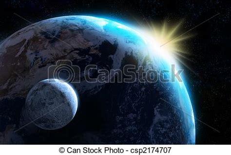 ilustraciones de vectores de sol tierra luna espacio stock de ilustraciones de tierra luna levantar sol