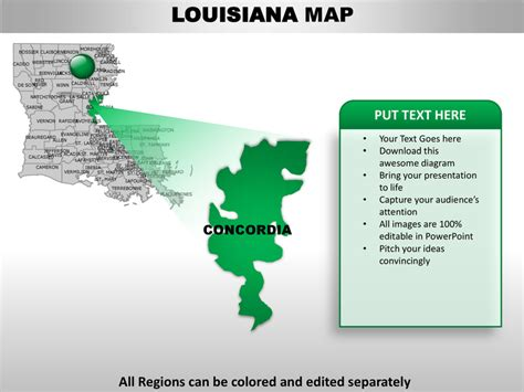 Usa Louisiana State Powerpoint County Editable Ppt Maps And Templates Jefferson Powerpoint Template