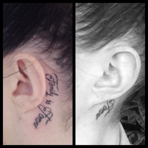 tattoo removal behind ear my new ear says quot family is forever quot tats
