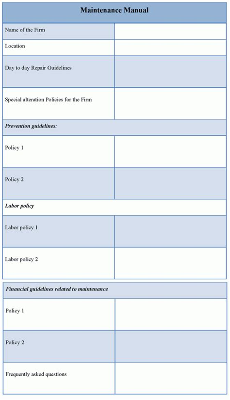manual template for maintenance exle of maintenance