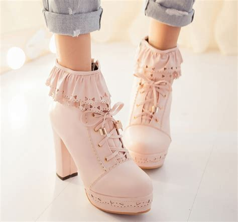 Sweet Heels japanese sweet falbala high heeled boots 183 fashion