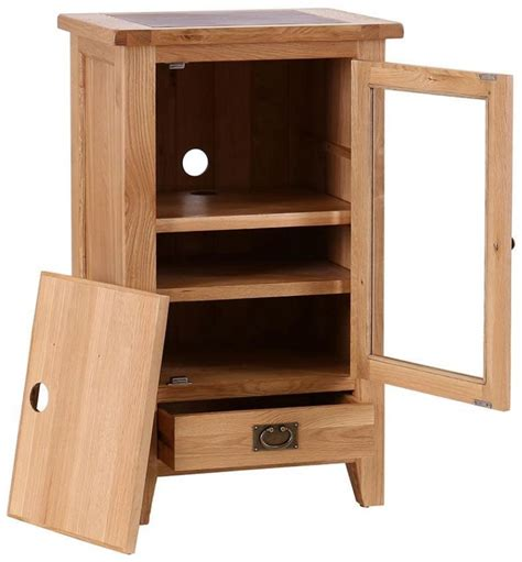 Oak Hi Fi Cabinets With Glass Doors Buy Vancouver Premium Oak Hi Fi Cabinet Bevelled Glass Cfs Uk