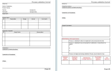process validation format sles word document download