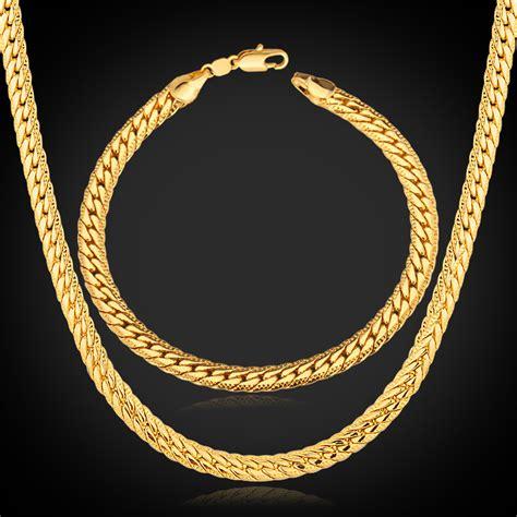 necklaces bracelets set for 18k real gold plated 18k