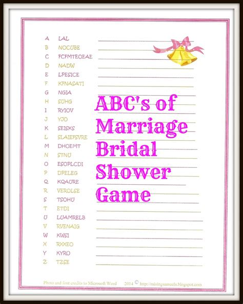 freebie  abcs  marriage bridal shower game