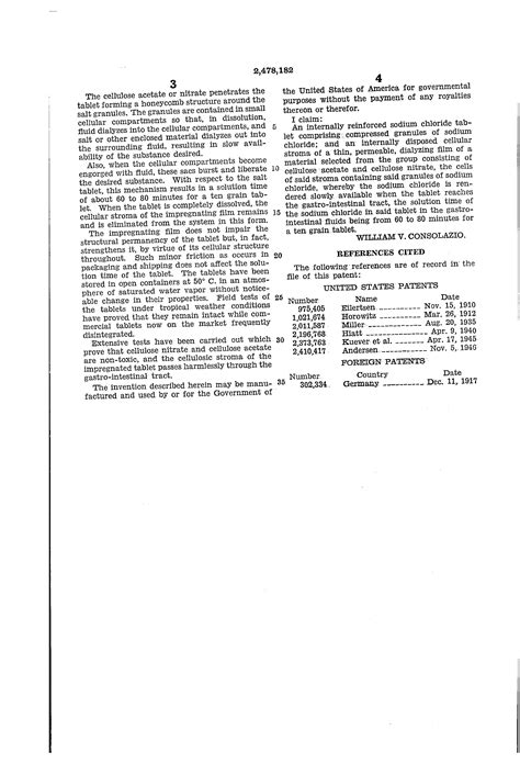 Kaporit Tablet Sn Original Made In Japan Chlorin Tablet patent us2478182 sodium chloride tablet patents