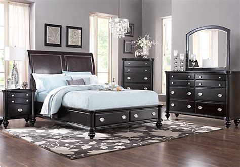 remington place espresso  pc king sleigh bedroom  storage bedroom sets dark wood