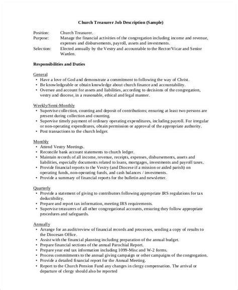 10 Treasurer Job Description Templates Pdf Doc Free Premium Templates Church Director Description Template