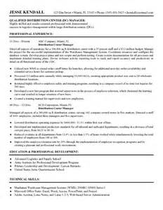 Warehouse Distribution Resume by Exle Distribution Center Manager Resume Free Sle
