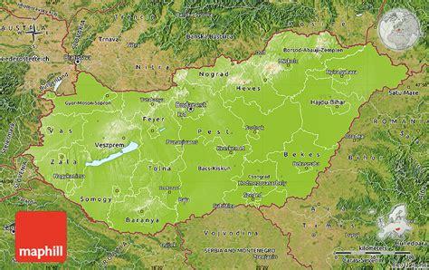 physical map of hungary ungarn physik karte