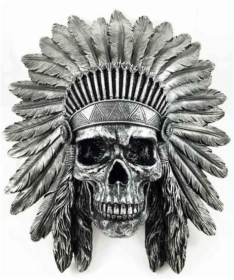 skull indian tattoo indian chief skull warrior wall hanging figurine home