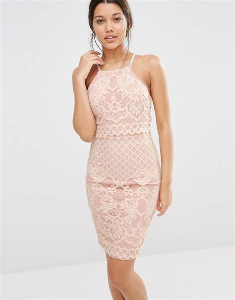 Dress Kaos Kece 231 missguided lace strappy layer dress in pink lyst