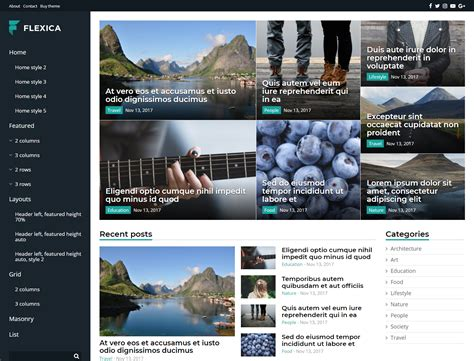 drupal themes live demo flexica blog news magazine drupal template 66039
