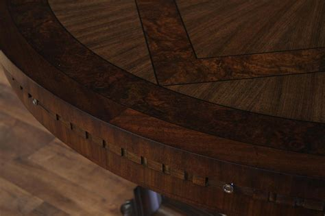 large round walnut dining room table with leaves seats 6 large round mahogany and walnut perimeter table