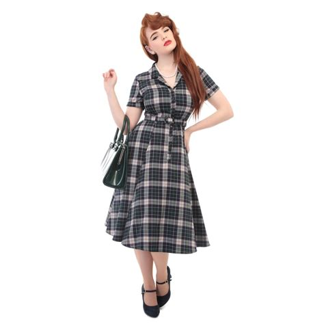 check swing collectif vintage caterina sherwood check swing dress