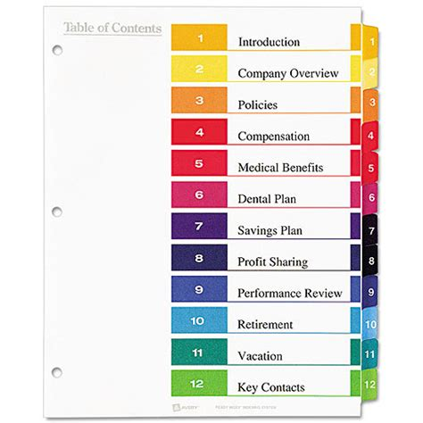 avery ready index dividers 8 tab template avery ready index contemporary contents divider 1 12