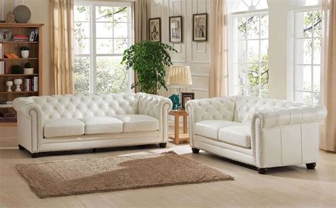 White Leather Living Room Chair - monaco pearl white leather living room set from amax