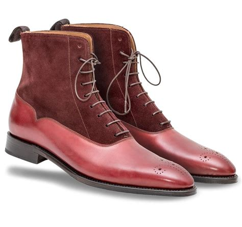 Handmade Ankle Boots - handmade burgundy color suede and leather ankle boots