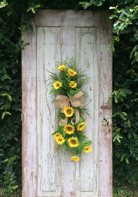 sunflower swag front door swag summer swag summer wreath