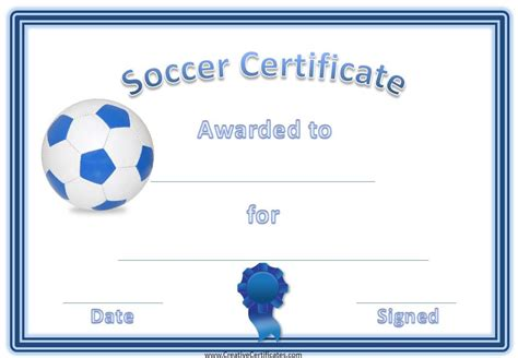 football certificate template soccer award certificate template customize