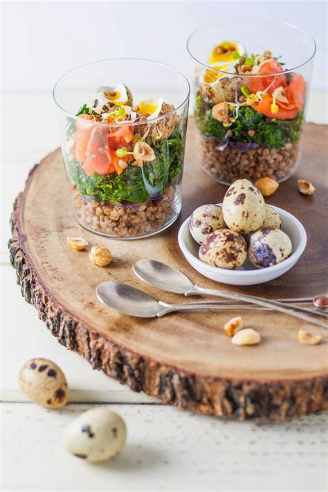 toasted buckwheat with sauteed kale smoked salmon and