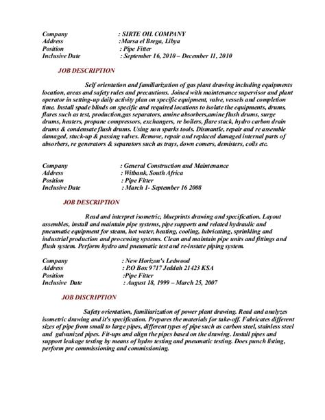 pipe fitter description resume pipefitter resume
