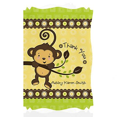 Monkey Baby Shower Thank You Cards by Monkey Neutral Personalized Baby Shower Thank You Cards