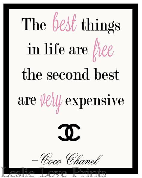 printable chanel quotes 8x10 quot the best things in life are free quot coco chanel