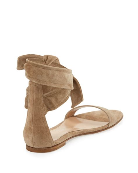 Sandal Merk Flat Beverly gianvito beverly suede ankle tie flat sandal bisque