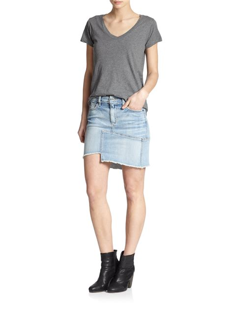 joe s asymmetrical denim mini skirt in blue lyst