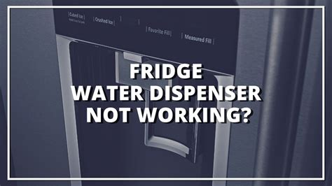 Water Dispenser On Fridge Not Working fridge water dispenser not working