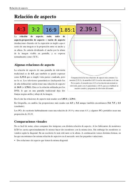 brevisima relacion de la 8437603412 formato y relaci 243 n de aspecto de pantallas