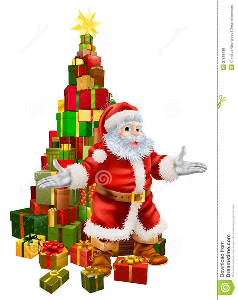 santa claus christmas tree gifts stock vector