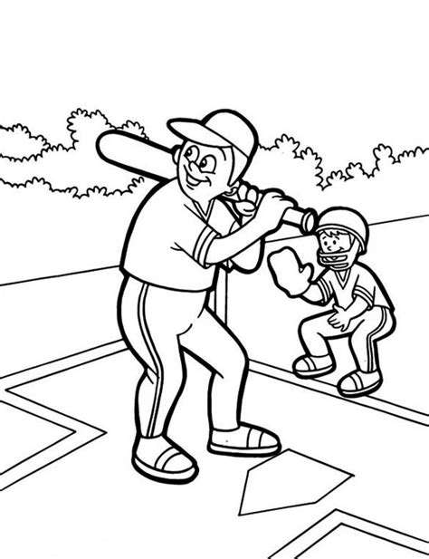 father  son baseball coloring page  print