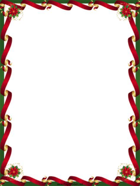 printable christmas borders for word ribbons and poinsettia christmas border