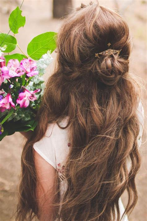 wedding boho updo diy half updo wedding hair tutorial the bohemian wedding