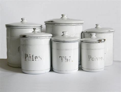 white canisters for kitchen french enamel canisters 6 vintage enamelware white kitchen