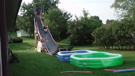 BACKYARD WATER SLIDE   YouTube