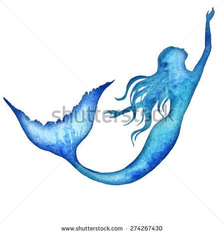 mermaid silhouette tattoo mermaid watercolor vector silhouette illustration