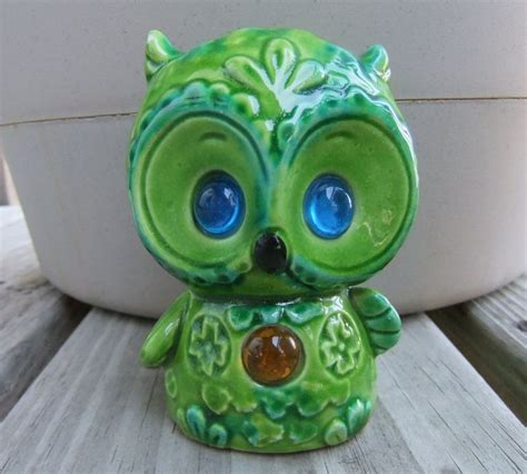 owl home decor vintage owl figurine green ceramic owl home decor