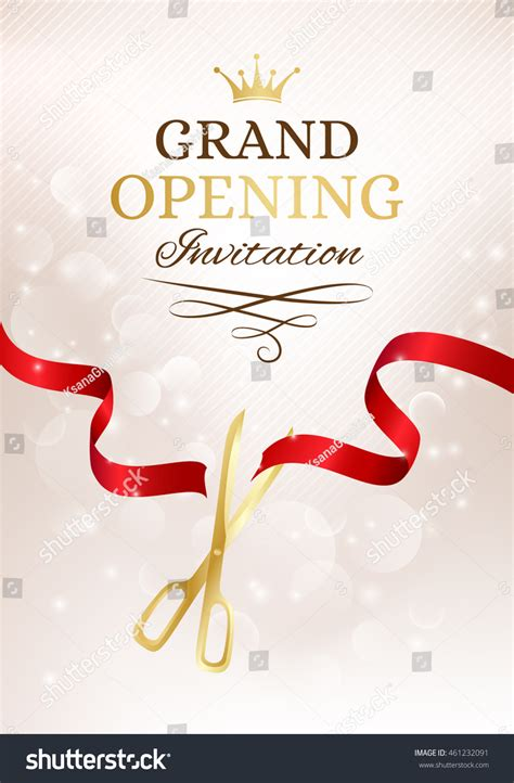 ppt templates for inauguration royalty free grand opening invitation card with cut