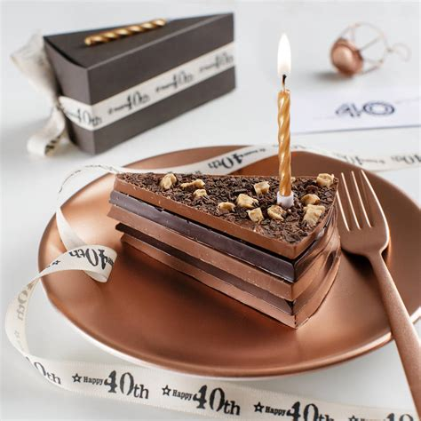 chocolate birthday 40th birthday chocolate cake slice with candle and card by